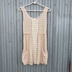 Lily White Tank Top Tunic Lace Pockets Beige Sz XS